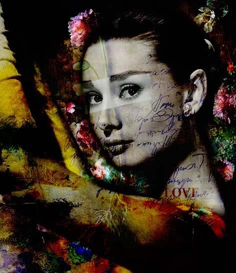 Audrey Hepburn & Flowers von Adelia Clavien